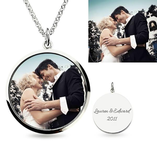 Round Engraved Photo Necklace Sterling Silver