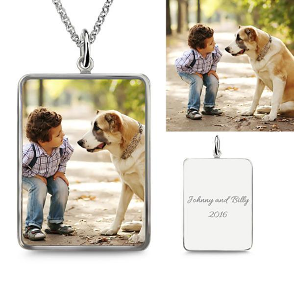 Rectangle Engraved Photo Necklace Sterling Silver