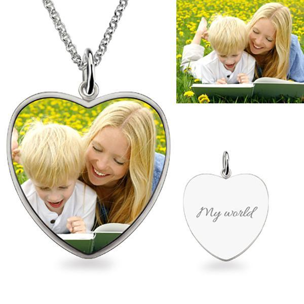 Heart Engraved Photo Necklace Sterling Silver